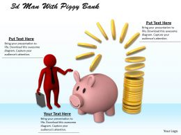 1013 3d Man With Piggy Bank Ppt Graphics Icons Powerpoint