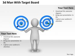 1013 3d Man With Target Board Ppt Graphics Icons Powerpoint