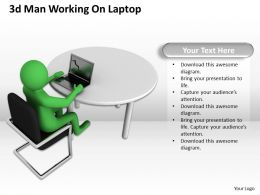 1013 3d Man Working On Laptop Ppt Graphics Icons Powerpoint