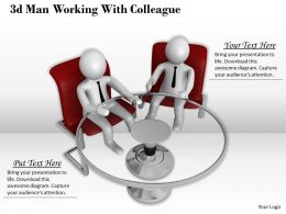 1013 3d Man Working With Colleague Ppt Graphics Icons Powerpoint