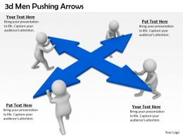 1013 3d Men Pushing Arrows Ppt Graphics Icons Powerpoint