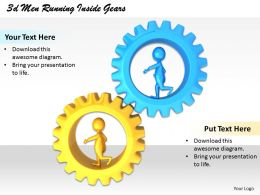 1013 3d Men Running Inside Gears Ppt Graphics Icons Powerpoint