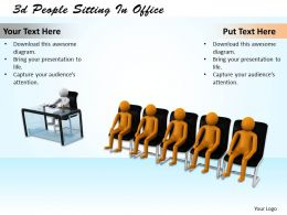 1013 3d People Sitting In Office Ppt Graphics Icons Powerpoint