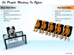 1013 3d People Waiting In Office Ppt Graphics Icons Powerpoint