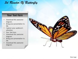 1013 3d Render Of Butterfly Ppt Graphics Icons Powerpoint