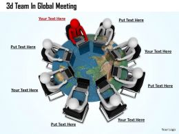 1013 3d Team In Global Meeting Ppt Graphics Icons Powerpoint
