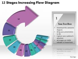 1013 Busines Ppt diagram 12 Stages Increasing Flow Diagram Powerpoint Template