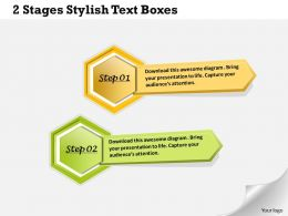 1013 Busines Ppt diagram 2 Stages Stylish Text Boxes Powerpoint Template