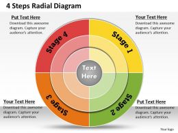1013 Busines Ppt diagram 4 Steps Radial Diagram Powerpoint Template
