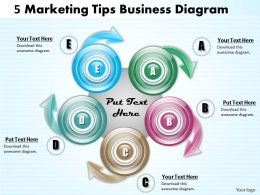 1013 Busines Ppt diagram 5 Marketing Tips Business Diagram Powerpoint Template