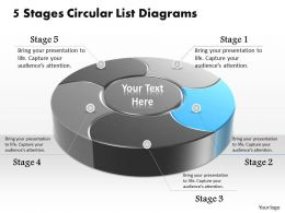 1013 Busines Ppt diagram 5 Stages Circular List Diagrams Powerpoint Template