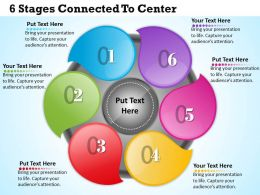 1013 Busines Ppt diagram 6 Stages Connected To center Powerpoint Template