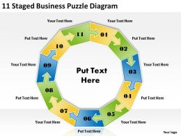 1013 Business Plan Outline 11 Staged Puzzle Diagram Powerpoint Templates PPT Backgrounds For Slides