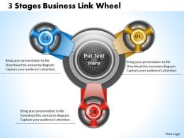 1013_business_ppt_diagram_3_stgaes_business_link_wheel_powerpoint_template_Slide01