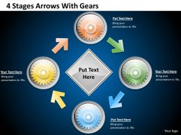 1013 Business Ppt diagram 4 Stages Arrows With Gears Powerpoint Template