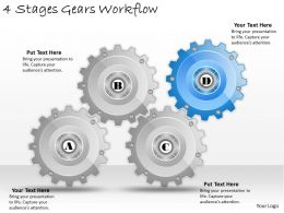 1013 Business Ppt diagram 4 Stages Gears Workflow Powerpoint Template