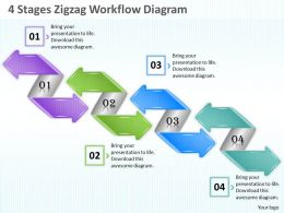 1013 Business Ppt diagram 4 Stages Zigzag Workflow Diagram Powerpoint Template