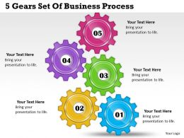1013 Business Ppt diagram 5 Gears Set Of Business Process Powerpoint Template