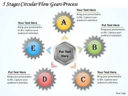 1013 Business Ppt diagram 5 Stages Circular Flow Gears Process Powerpoint Template