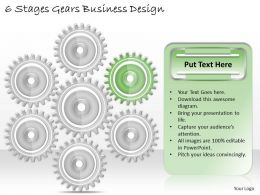 1013 Business Ppt diagram 6 Stages Gears Business Design Powerpoint Template