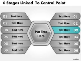 1013 Business Ppt diagram 6 Stages Linked to Central Point Powerpoint Template