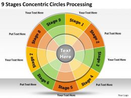 1013 Business Ppt diagram 9 Stages Concentric Circles Processing Powerpoint Template