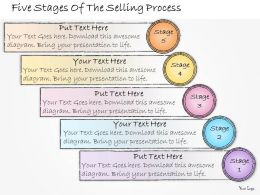 1013 Business Ppt Diagram Five Stages Of The Selling Process Powerpoint Template