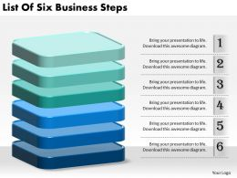1013 Business Ppt diagram List Of Six Business Steps Powerpoint Template