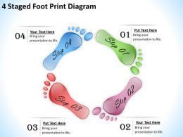 1013 Business Process Consulting 4 Staged Foot Print Diagram Powerpoint Templates PPT Backgrounds For Slides