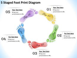 1013 Business Strategy 5 Staged Foot Print Diagram Powerpoint Templates PPT Backgrounds For Slides