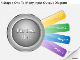 1013 Business Strategy Consultant 4 Staged One To Many Input Output Diagram Powerpoint Slides