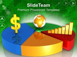 1013 Global Dollar Fluctuation Pie And Bar Chart PowerPoint Templates PPT Themes And Graphics
