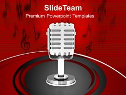 1013 Music Broadcasting Microphone PowerPoint Templates PPT Themes And Graphics
