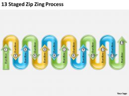 1013 Strategy 13 Staged Zig Zag Process Powerpoint Templates PPT Backgrounds For Slides
