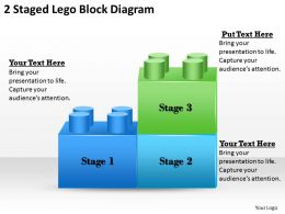 1013 Strategy Consultant 2 Staged Lego Block Diagram Powerpoint Templates PPT Backgrounds For Slides