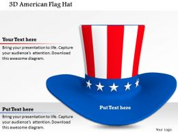 1014 3d American Flag Hat Image Graphics For PowerPoint