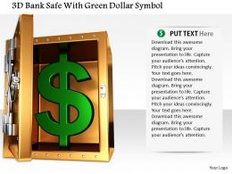 1014 3d Bank Safe With Green Dollar Symbol Image Graphics For Powerpoint