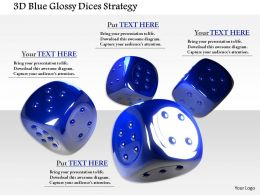 1014 3d Blue Glossy Dices Strategy Image Graphics For PowerPoint