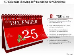 1014 3d Calendar Showing 25th December For Christmas Image Graphics For Powerpoint