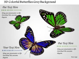1014 3d Colorful Butterflies Grey Background Image Graphics For PowerPoint