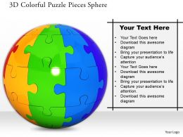 1014 3d Colorful Puzzle Pieces Sphere Image Graphics For PowerPoint