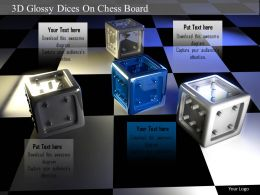 1014 3d Glossy Dices On Chess Board Image Graphics For PowerPoint