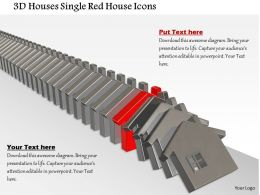 1014 3d Houses Single Red House Icons Image Graphics For PowerPoint