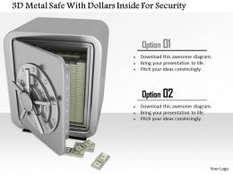 1014 3d Metal Safe With Dollars Inside For Security Image Graphics For Powerpoint