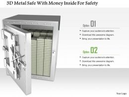 1014 3d Metal Safe With Money Inside For Safety Image Graphics For Powerpoint