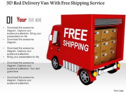 1014 3d Red Delivery Van With Free Shipping Service Image Graphics For Powerpoint
