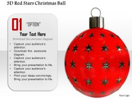 1014 3d Red Stars Christmas Ball Image Graphics For PowerPoint