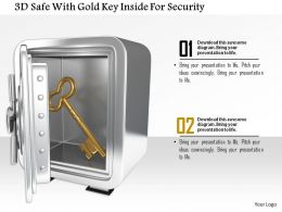 1014 3d Safe With Gold Key Inside For Security Image Graphics For Powerpoint