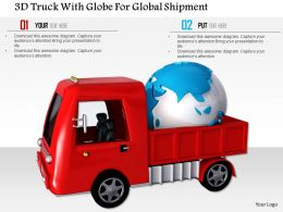 1014 3d Truck With Globe For Global Shipment Image Graphics For Powerpoint