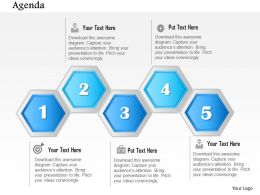 1014 Abstract Five Stages Hexagonal Diagram Powerpoint Template
